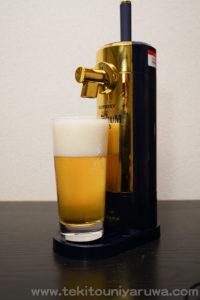 ビアサーバーとビール。注ぎ終わり。