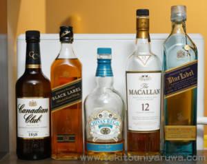 ウイスキー ボトル5本、カナディアンクラブ、ジョニーウォーカーブラック、シーバスリーガルミズナラ、ザマッカラン12年、ジョニーウォーカー ブルーラベル